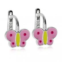 Dětské stříbrné náušnice s růžovými motýly
