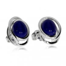 Stříbrné náušnice oválného tvaru s modrým lapisem