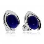 Stříbrné náušnice - Modré lapisové ovály ve špičce