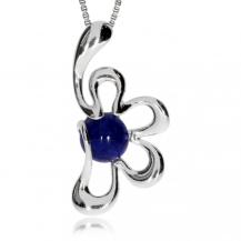 Stříbrný přívěsek - Kytička s modrým kamínkem