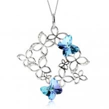 Stříbrný náhrdelník Preciosa Butterfly Harmony Vitrail Light 6057 43 - 45cm