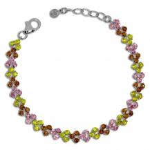 Stříbrný náramek  - Drobné barevné kamínky