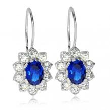 Stříbrné náušnice - Oválné kytičky s modrým středem