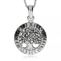 Stříbrný přívěsek - Strom života s květy