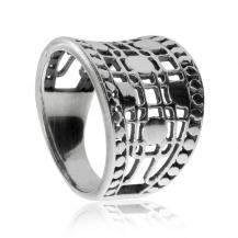 Stříbrný prsten - Širší mřížka