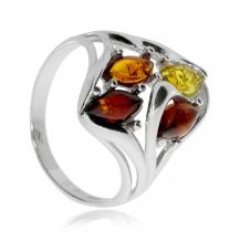 Stříbrný prsten s jantarem  čtyř barev