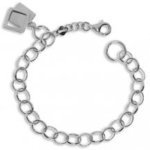 Rhodiovaný stříbrný náramek s přívěsky ve tvaru čtverce