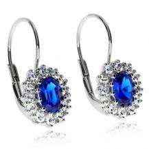 Stříbrné náušnice s modrými a čirými zirkony (cubic zirocnia) - Ovál