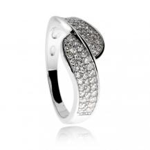 Stříbrný prsten se zirkony (cubic zirconia), dvě zvlněné linie