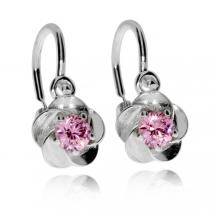 Stříbrné dětské náušnice s růžovým křišťálem - Květiny