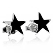 Stříbrné rhodiované náušnice s motivem hvězdičky