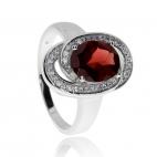 Stříbrný prsten s oválným granátem - almandinem a zirkony (cubic zirconia)