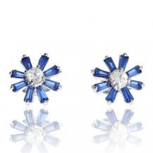 Stříbrné náušnice se zirkony (cubic zirkonia) - Modré květiny