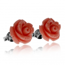 Stříbrné náušnice růže na puzetu
