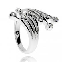 Stříbrný prsten se zirkony (kubická zirkonie), osm linií zakončených kamenem